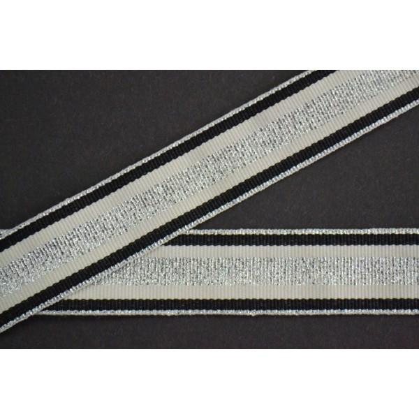 Galon gros grain rayure argent, mastic et noir 25mm - Photo n°1