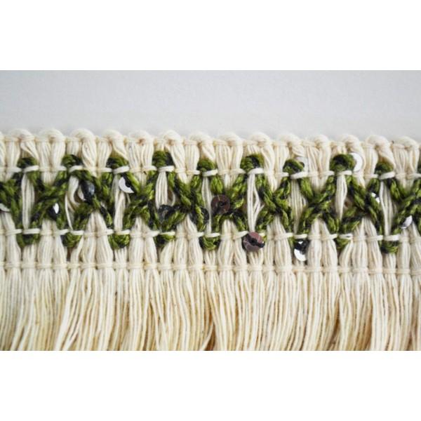Galon franges coton écru et kaki, sequins argentés 50mm - Photo n°1