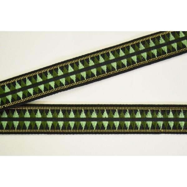 Galon tissé ton vert motif géométrique 20mm - Photo n°1