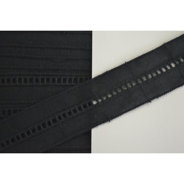 Dentelle coton entre-deux noir 25mm - Photo n°1