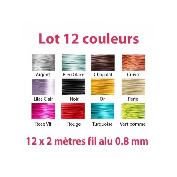 Lot 12 couleurs x 2 mètres de fil aluminium 0.8 mm - Photo n°1