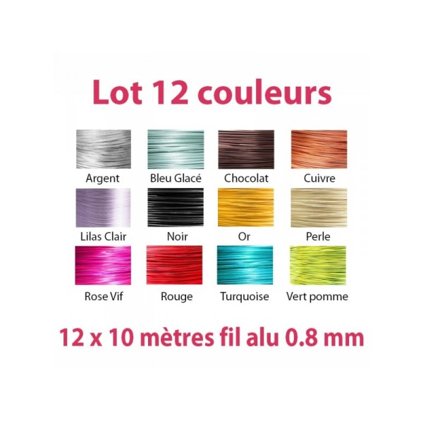 Lot 12 couleurs x 10 mètres de fil aluminium 0.8 mm - Photo n°1