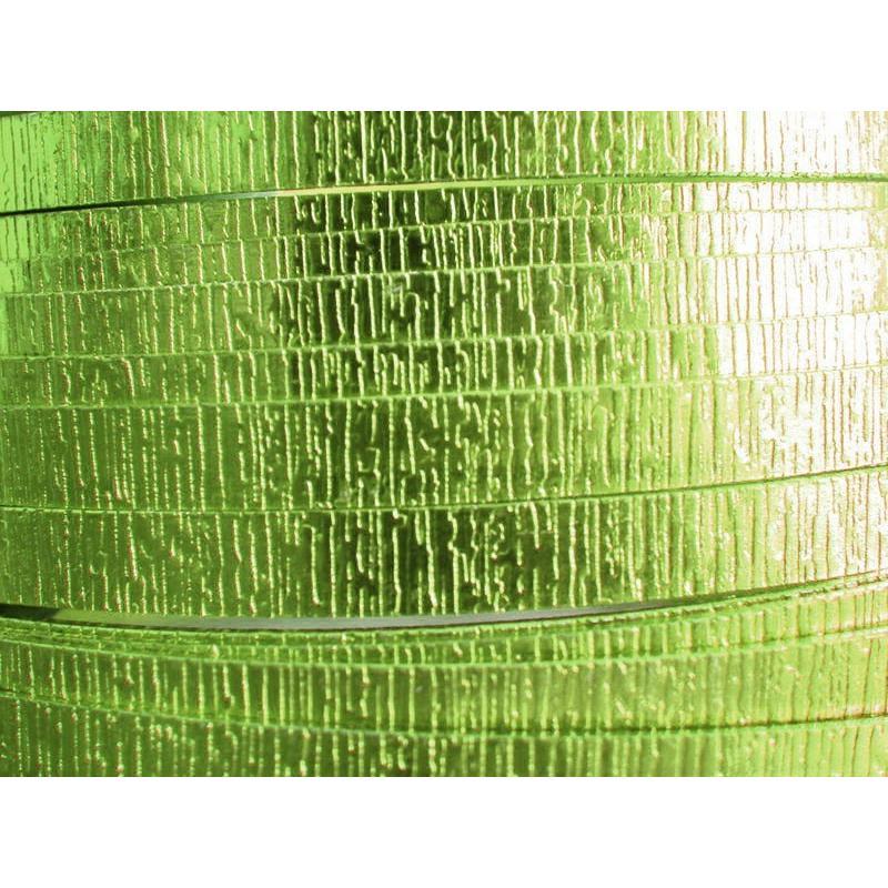1 Mètre fil aluminium plat strié vert pomme 5mm Oasis ® - Photo n°1