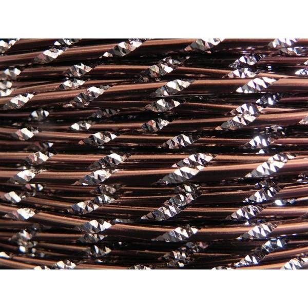 5 Mètres fil aluminium ciselé chocolat 2mm Oasis ® - Photo n°1