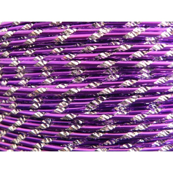 1 Mètre fil aluminium ciselé lilas 2mm Oasis ® - Photo n°1