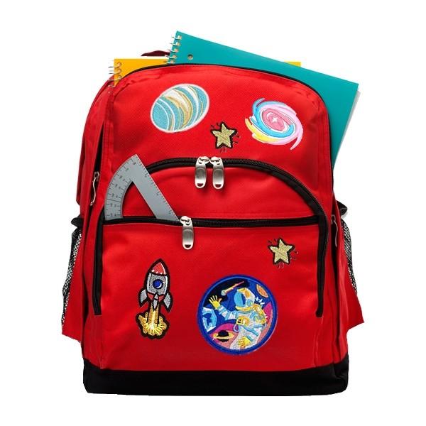 Pack de 10 écussons planètes, espace astronaute fusées, étoiles, patchs thermocollants - Photo n°2