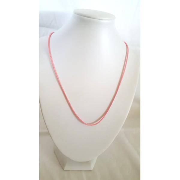 1 Collier en coton ciré rose - 45cm - Photo n°1