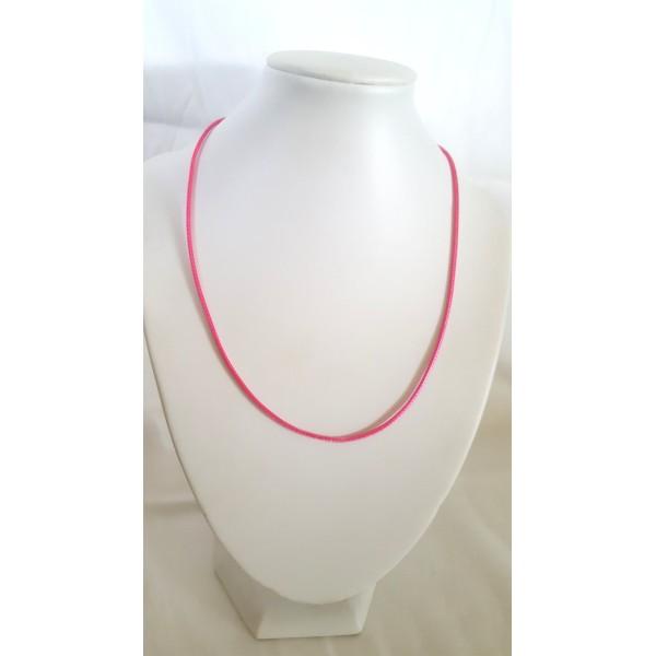 1 Collier en coton ciré rose bonbon - 45cm - Photo n°1