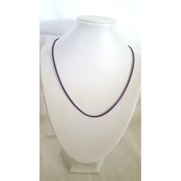 1 Collier en coton ciré violet - 45cm - Photo n°1