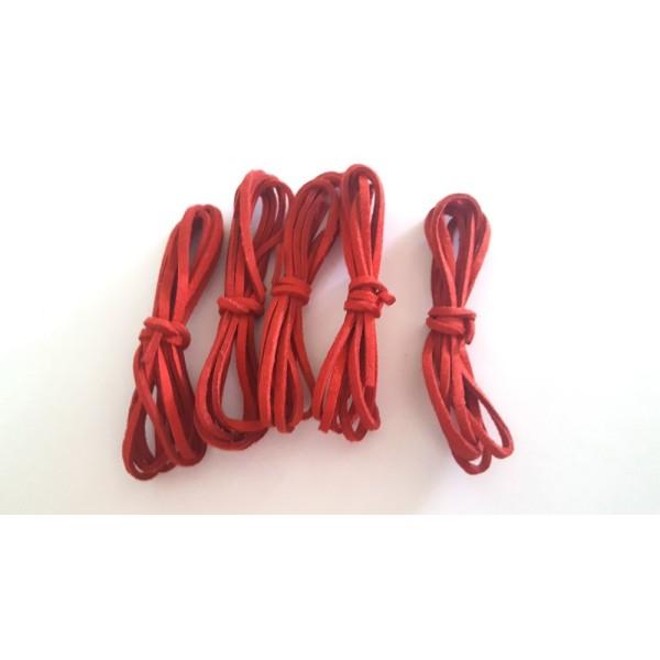 5 X 1m de suédine rouge - 3mm – 38 - Photo n°1