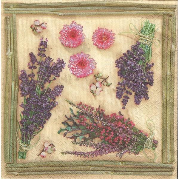 4 Serviettes en papier Fleurs Séchées Format Lunch Collage Decopatch SDOG-017101 Pol-Mak - Photo n°1