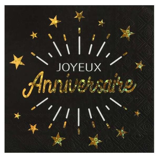 10 Serviettes papier Joyeux Anniversaire noir et or métallisé - Photo n°1