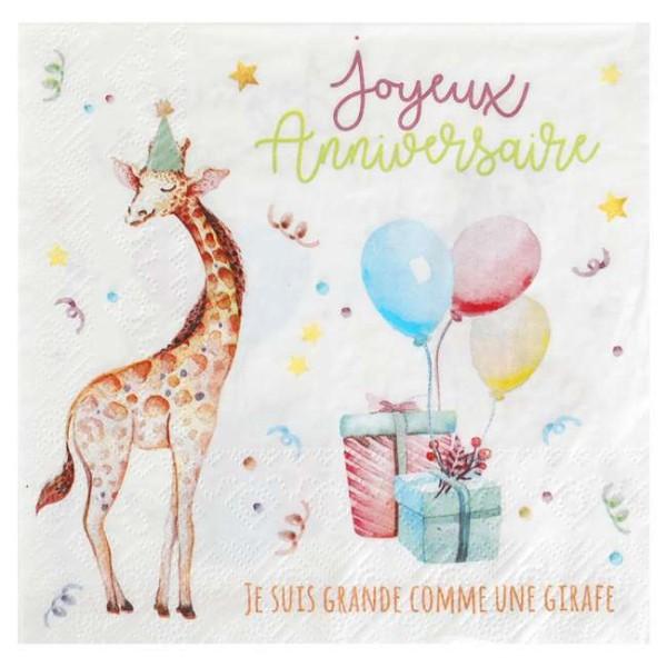 20 Serviettes en papier anniversaire Zoo party - Photo n°1