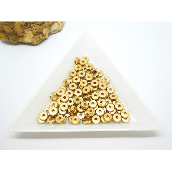 20 Perles rondelles style Heishi en laiton doré - 5mm - Photo n°1