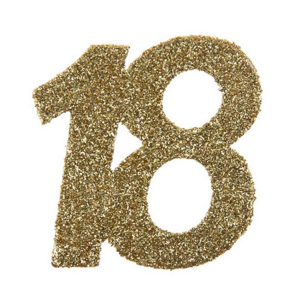 Confettis Anniversaire 18 ans pailleté or x 6 - Photo n°1