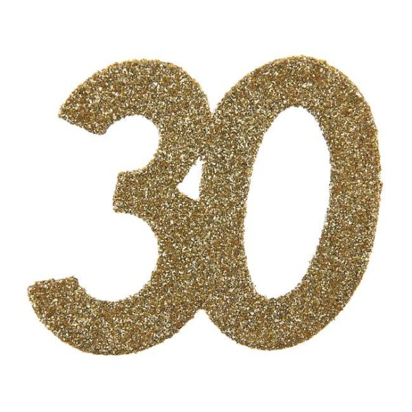 Confettis Anniversaire 30 ans pailleté or x 6 - Photo n°1