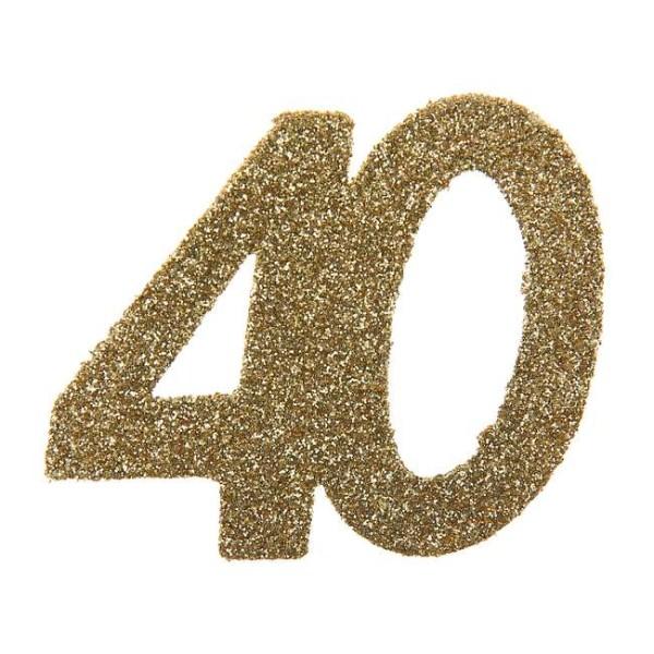 Confettis Anniversaire 40 ans pailleté or x 6 - Photo n°1