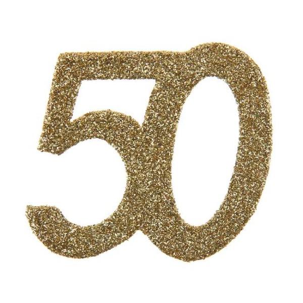 Confettis Anniversaire 50 ans pailleté or x 6 - Photo n°1