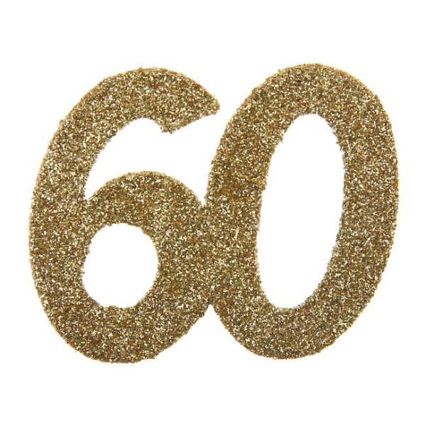 Confettis Anniversaire 60 ans pailleté or x 6 - Photo n°1