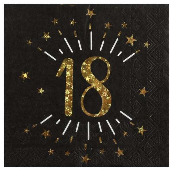 10 Serviettes anniversaire 18 ans noir et or métallisé - Photo n°1
