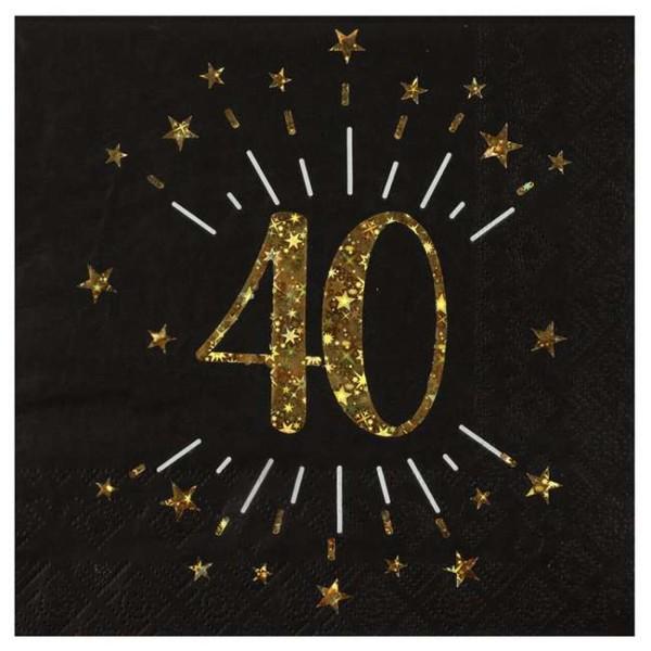 10 Serviettes anniversaire 40 ans noir et or métallisé - Photo n°1