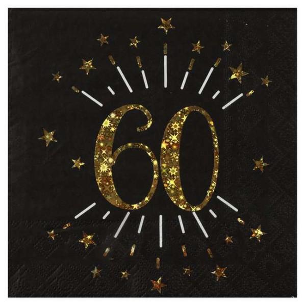 10 Serviettes anniversaire 60 ans noir et or métallisé - Photo n°1