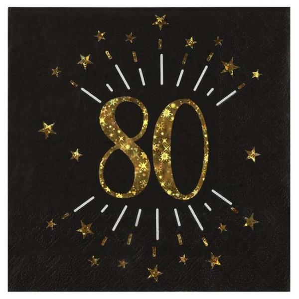 10 Serviettes anniversaire 80 ans noir et or métallisé - Photo n°1