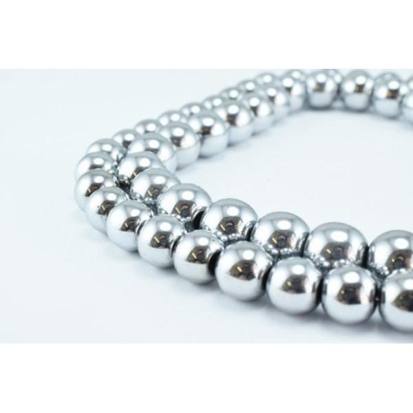 10 Perles Hematite Argenté 12mm Non-Magnetique - Photo n°3