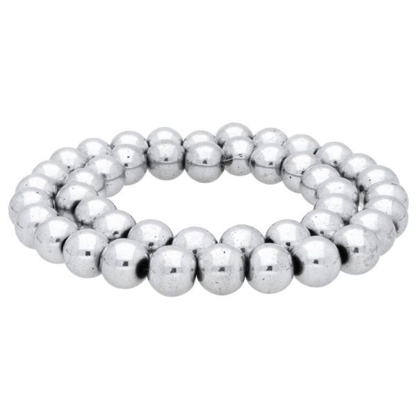 10 Perles Hematite Argenté 12mm Non-Magnetique - Photo n°4