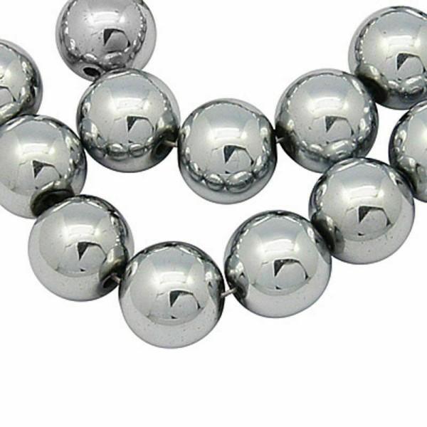 10 Perles Hematite Argenté 12mm Non-Magnetique - Photo n°5