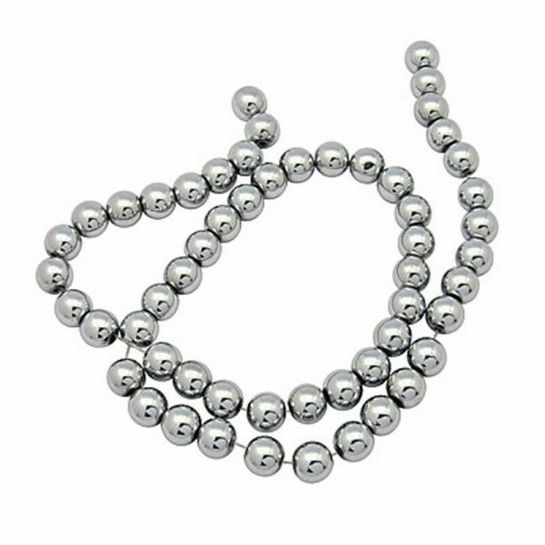 10 Perles Hematite Argenté 12mm Non-Magnetique - Photo n°1