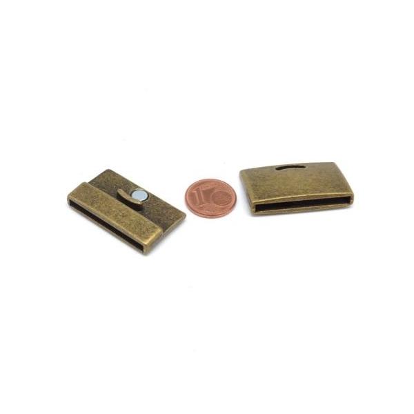 Fermoir Aimanté 30mm Pour Bracelet Multirangs En Métal De Couleur Bronze - Manchette - Photo n°2