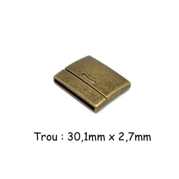 Fermoir Aimanté 30mm Pour Bracelet Multirangs En Métal De Couleur Bronze - Manchette - Photo n°1