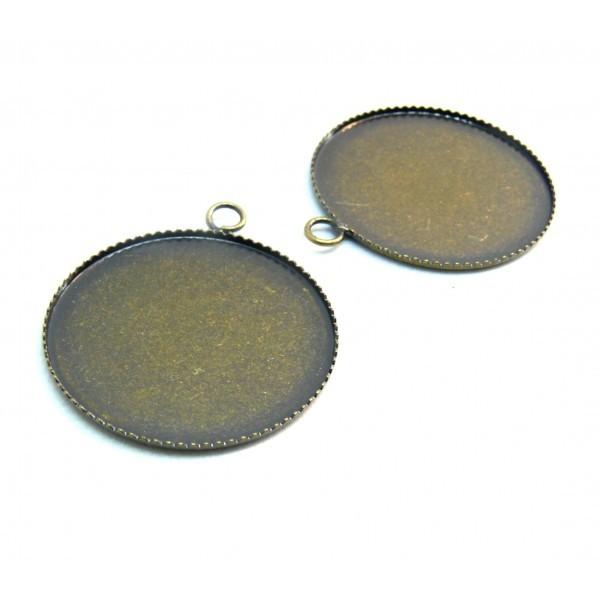 BN1124055 PAX 10 Supports de pendentif PLATEAU attache ronde 14mm laiton couleur BRONZE - Photo n°1