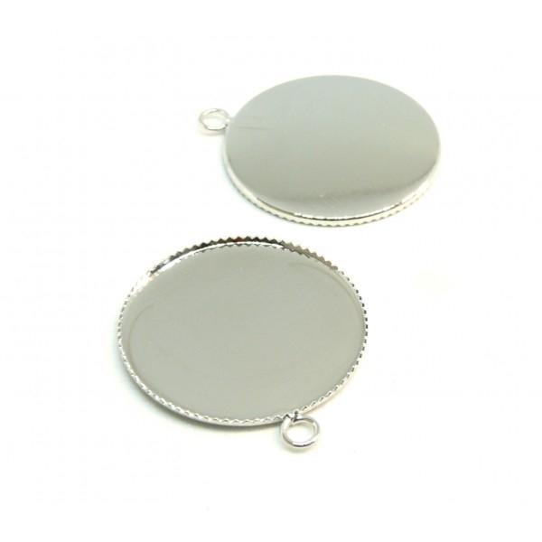 BN1126735 PAX 10 Supports de pendentif PLATEAU attache ronde 25mm laiton couleur Argent Platine - Photo n°1