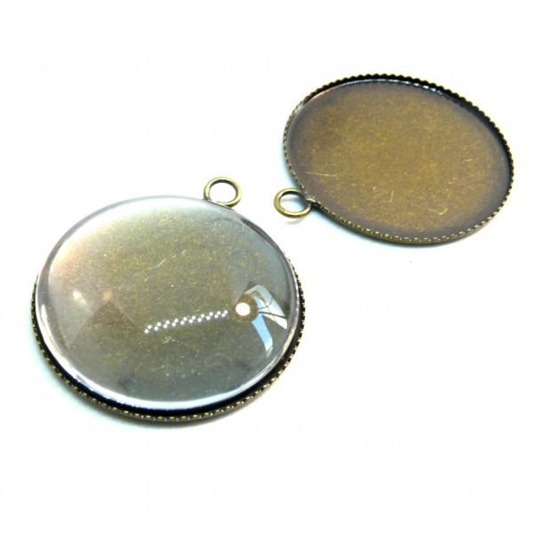 BN118589 20 pieces: PAX 10 Supports de pendentif PLATEAU attache ronde 20mm Bronze 10 cabochons - Photo n°1