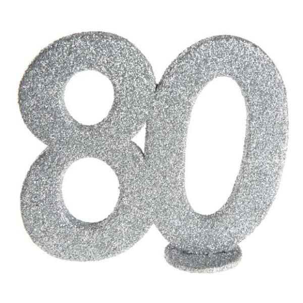 Déco anniversaire chiffre 80 argent pailleté - Photo n°1