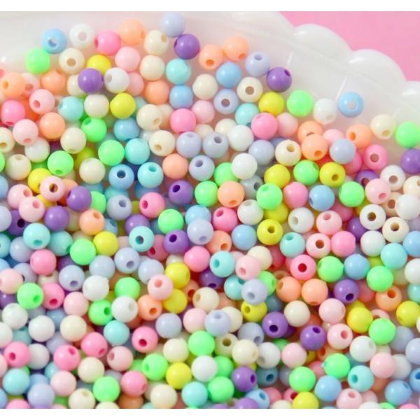 200 Perles en Acrylique 4mm Mixte, Creation Bijoux, Bracelet, Collier - Photo n°3