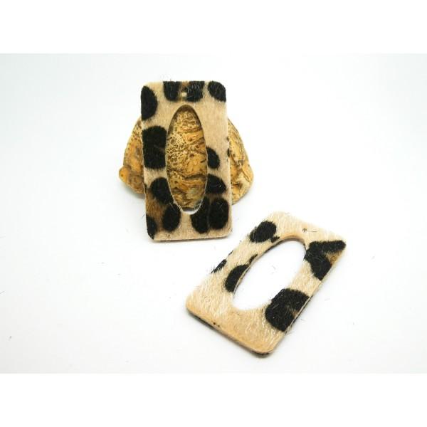 2 Pendentifs rectangle imprimé léopard - 50*27mm - noir et beige - simili cuir aspect fourrure - Photo n°1