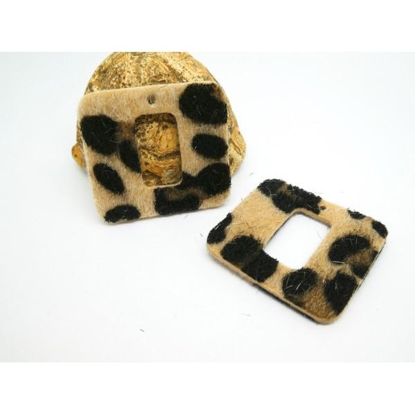 2 Pendentifs rectangle imprimé léopard - 33*31mm - noir et beige - simili cuir aspect fourrure - Photo n°1