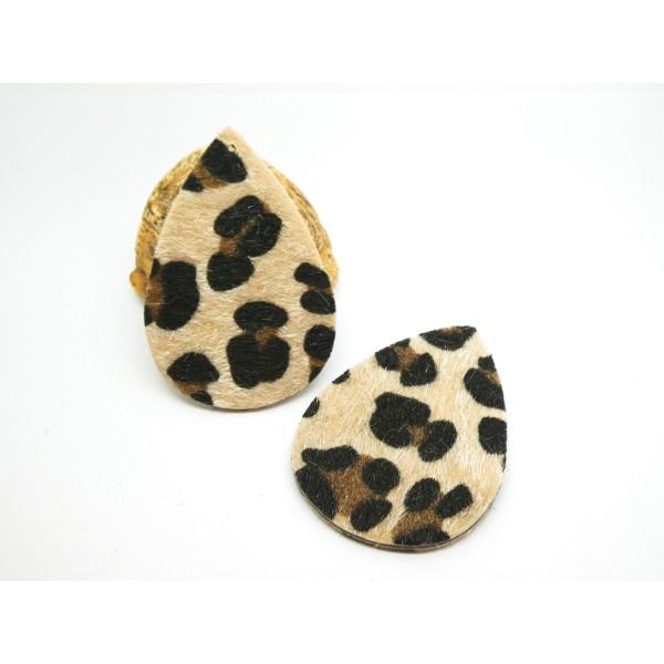 2 Pendentifs goutte pleine imprimé léopard - 56*38mm - noir et beige - simili cuir aspect fourrure - Photo n°1