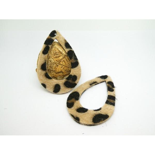 2 Pendentifs goutte imprimé léopard - 59*40mm - noir et beige - simili cuir aspect fourrure - Photo n°1