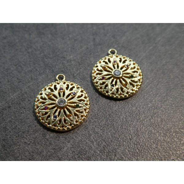 2 Pendentifs, breloques ronds fleur creuses zircon multicolore - 17*15mm - doré - Photo n°1