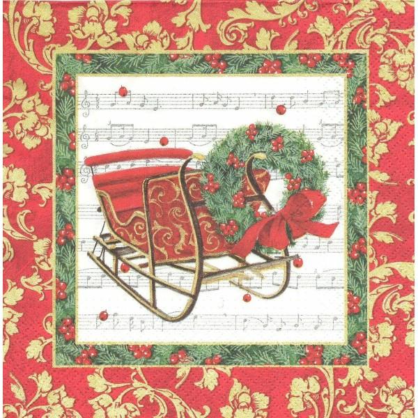 4 Serviettes en papier Traîneau de Noël Couronne Format Lunch Decoupage Decopatch SDL-810000 Paw - Photo n°1