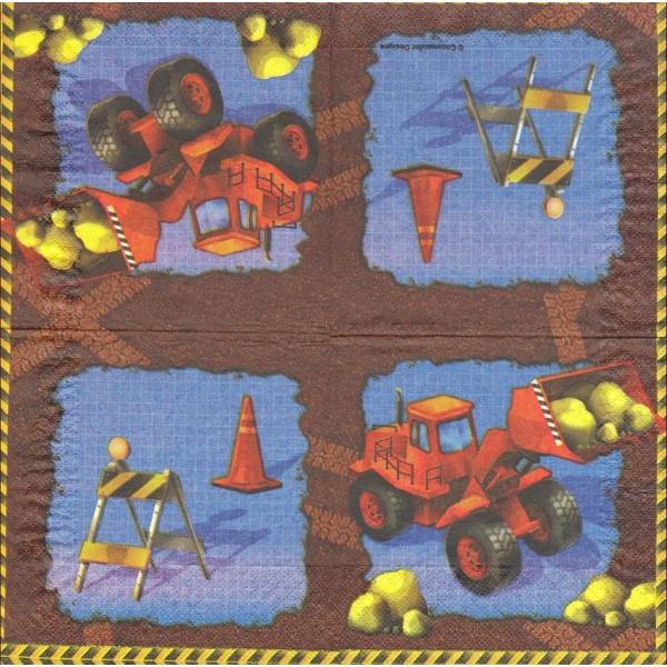 4 Serviettes en papier Chantier Tracteur Format Cocktail Decoupage 655955 Converting - Photo n°1