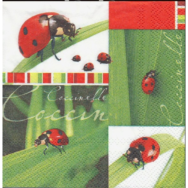 4 Serviettes en papier Coccinelle Nature Format Lunch Decoupage Decopatch 211260 Home Fashion - Photo n°1