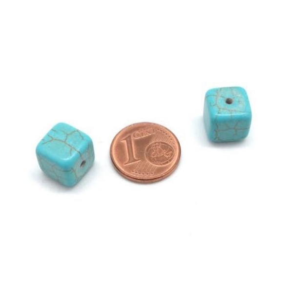 10 Perles Cube Imitation Turquoise