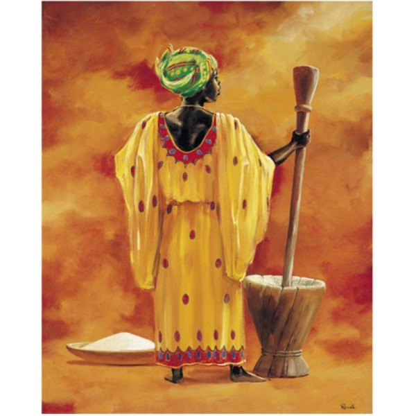 Image 3D - 2000046 - 40x50 - Africaine pilant du mil - Photo n°1
