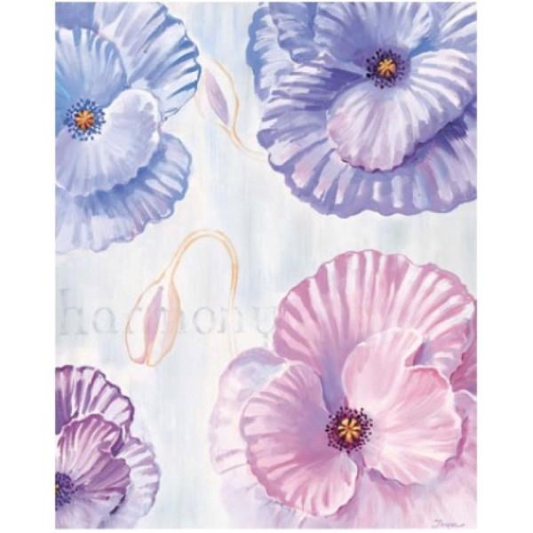 Image 3D - 2000813 - 40x50 - 4 Fleurs bleu/rose/mauve - Photo n°1