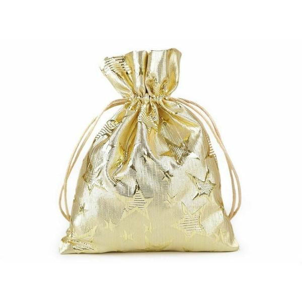 1pc 2gold le Lieutenant. Sac de Cadeau de Noël Avec des Étoiles Et Lurex 14x18cm, Sac de Vacances, S - Photo n°1